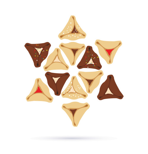 Set of few different tasty Hamantaschen . happy purim, jewish holiday